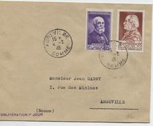 A. FOURNIER Et H. BECQUEREL (Yvert N°748 Et 749)  Sur Lettre Oblitération 1er Jour D'émission - 1921-1960: Modern Period