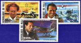 MALI, 1986, JEAN MERMOZ, AIRPLANES, YV#A.517-19, MNH - Malí (1959-...)