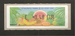 France, Distributeur, 655, Salon Du Timbre, Fruits Exotiques, Paris, 2006, Type AJ, Neuf **, LISA 1 - 1999-2009 Vignettes Illustrées