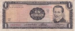 BILLETE DE EL SALVADOR DE 1 COLON DEL AÑO 1974 DE CRISTOBAL COLON   (BANKNOTE) - El Salvador