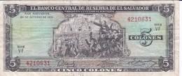 BILLETE DE EL SALVADOR DE 5 COLONES DEL AÑO 1972-74 DE CRISTOBAL COLON   (BANKNOTE) - El Salvador