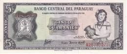 BILLETE DE PARAGUAY DE 5 GUARANIES DEL AÑO 1952 (BANK NOTE) SIN CIRCULAR-UNCIRCULATED - Paraguay