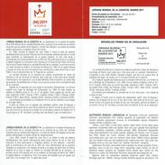 JOURNÉE MONDIALE DE LA JUVENTUS - MADRID - DOCUMENT INSTRUCTIF DE L´ÉMISSION DE TIMBRE ESPAGNE - España