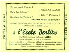 E EB/Buvard   Ecole Berlitz (N= 1) - Buvards, Protège-cahiers Illustrés