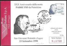 Italia/Italie/Italy: FDC, Padre Pio Da Pietrelcina, Padre Pio Of Pietrelcina, Padre Pio De Pietrelcina - Christentum