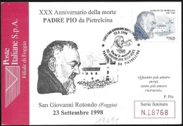 Italia/Italie/Italy: FDC, Padre Pio Da Pietrelcina, Padre Pio Of Pietrelcina, Padre Pio De Pietrelcina - Cristianesimo
