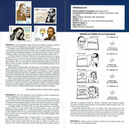 PERSONNAGES - DELIBES -ROSALES - JOVELLANOS -MIGUEL SERVET - DOCUMENT INSTRUCTIF DE L´ÉMISSION DE TIMBRE ESPAGNE - España