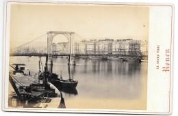 Photo Albuminée -  ANNEES 1870/80 - 11 X 15.5   ROUEN - LE GRAND PONT  Le Port, Bateaux, Grues - Photographs