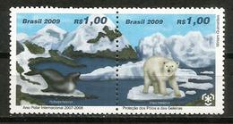 Preservation Des Poles Et Glaciers,  2 Timbres Neufs ** Se-tenant Du BRESIL - Preserve The Polar Regions And Glaciers