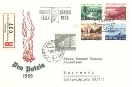 Schweiz, 1955, R-Brief, Zürich - Bayreuth, Automobil, Bundesfeier, Pro Patria-Satz , Siehe Scans! - Switzerland