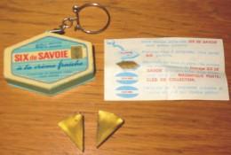 Porte-clés Fromage Fondu Six De Savoie + 2 Portions Dorée + Notice D'origine - Schlüsselanhänger