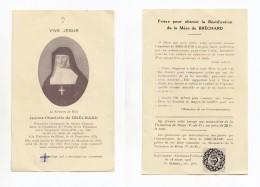 Image Pieuse Relique Jeanne Charlotte De Bréchard, Vellerot (21, Saint-Pierre-en-Vaux), Moulins, Riom, étoffe Visitation - Images Religieuses