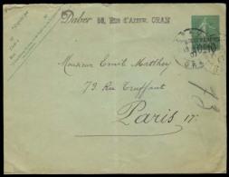ALGERIA. 1907. Oran - France. 15c Green / Tarif Reduite. 0,10 Fr French Stat Used From Algeria. Scarce.. Carta, Cover... - Algeria (1962-...)