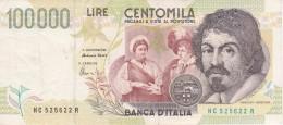 BILLETE DE ITALIA DE 100000 LIRAS DEL AÑO 1994 SERIE HC DE CARAVAGGIO (BANKNOTE-BANK NOTE) - [ 2] 1946-… : Repubblica