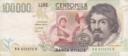 BILLETE DE ITALIA DE 100000 LIRAS DEL AÑO 1994 SERIE KA DE CARAVAGGIO (BANKNOTE-BANK NOTE) - [ 2] 1946-… : Républic