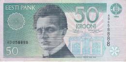 BILLETE DE ESTONIA DE 50 KROONI DEL AÑO 1994 SERIE AD (BANK NOTE) - Estonia