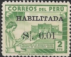 PERU 1951 Children,s Holiday Camp Optd Habilitado & Surcharged - 1c. On 2c Green MNG - Peru