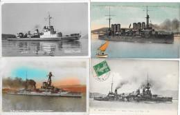 Lot 4 Cartes Bateaux De Guerre - Guerra