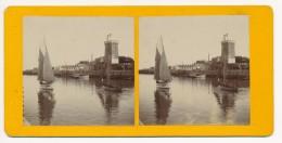 Ancienne Photographie Vue Stéréoscopique XIXème Les Sables D'Olonne Entrée Du Port - Photos Stéréoscopiques