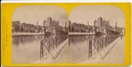 Ancienne Photographie Vue Stéréoscopique XIXème Port Du Lac D'Annecy Photographe G. BRUN Aix Les Bains - Photos Stéréoscopiques