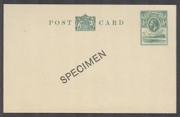 BC - Basutoland. C.1935-6. KGV 1/2d Green Stat Card Mint, Ovptd Specimen. VF.. Carta, Cover, Letter, Envelope. Antoni... - Unclassified
