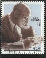 ITALIA REPUBBLICA ITALY REPUBLIC 2013 GABRIELE D´ANNUNZIO USATO USED OBLITERE´ - 6. 1946-.. Republic