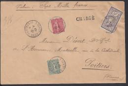 FR - 1907 - N° 122 - 2 Fr Merson + Semeuses Sur DEVANT D'Enveloppe, Chargé, Valeur Déclarée, De Parthenay Vers Poitiers - Marcofilia (sobres)