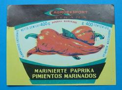 ALBANIA ETIQUETE MARINIERTE PAPRIKA - PIMIENTOS MARINADOS 400 GR 1960-70, AGROEXPORT TIRANA. - Obst Und Gemüse