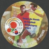 Côte D'Ivoire Ivory Coast 2002 World Cup Football Japan Korea Miniature Sheet YT BF 36 Michel 1297 Mint MNH - Côte D'Ivoire (1960-...)