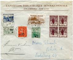 FRANCE ENV. DE L'EXPOSITION PHILATELIQUE INTERNATIONALE STRASBOURG-JUIN 1927 AFFRANCHIE PRINCIPALEMENT AVEC ORPHELINS - Storia Postale