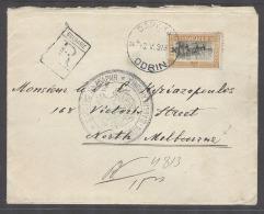 BULGARIA. 1913 (19 May). Odrin - Australia, Melbourne (7 July). Reg Env Single Fkg 50c Via London (1 June). Fine Bett... - Unclassified