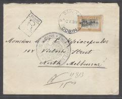 BULGARIA. 1913 (19 May). Odrin - Australia, Melbourne (7 July). Reg Env Single Fkg 50c Via London (1 June). Fine Bett... - Bulgaria
