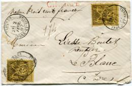 FRANCE LETTRE CHARGEE AFFRANCHIE AVEC 2 X LE N°93 DEPART YZEURES 2 FEVR. 87 INDRE-ET-LOIRE POUR LA FRANCE - Marcophilie (Lettres)