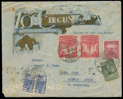 COLOMBIA. 1944. Bogota - Argentina. Multicolor Zoo - Circus De Buenos Ayres Ilustrated Fkd Env. VF.. Carta, Cover, Le... - Colombia