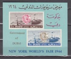Dubai 1964,2V In Block,globe,wereldbol,freedomstatue,vrijheidsbeeld,ships,schepen,schiffe,navires,MNH/Postfris(L2822) - Boten
