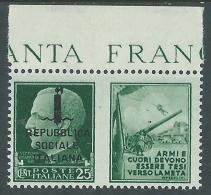 1944 RSI PROPAGANDA DI GUERRA 25 CENT MH * - CZ39-9 - Propaganda Di Guerra