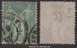 4c Sage Type I (N/B) Oblitéré TB (Y&T N° 63, Cote  90€) - 1876-1878 Sage (Type I)