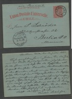 CHILE - Stationery. 1895 (15 Ago) Chillan - Germany, Berlin (10 Sept) 3c Red / Greenish Stat Card, Cds. VF.. Carta, C... - Chile