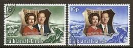 FALKLAND ISLANDS 1972 - SILVER WEDDING QUEENS Couple - 2v Mi 218-19 ʘ Canc Cv€1,50 H061 - Falkland Islands
