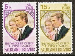 FALKLAND ISLANDS 1973 - Wedding Princess Anne - Prince Edward - Mi 220-21 MNH ** Cv€1,30 H062 - Falkland Islands