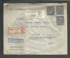 DOMINICAN REP. 1911 (4 Nov). Santiago - USA, NYC (12 Nov). Reg Multifkd Env 15c Rate X2 Diff R-labels. Fine. Per SS A... - Dominican Republic