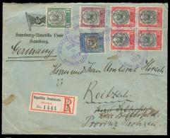 DOMINICAN REP. 1912 (9 Nov). Sanchez - Germany. Reg Multifkd Env Incl 2c Block Of Four. VF.. Carta, Cover, Letter, En... - Dominican Republic