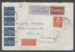 E-  II CENTENARIO. 1957 (24 Sept). Bermeo / Vizcaya - Suecia (28 Sept). Sobre Franqueo Multiple Via Aerea Urgente, Co... - España