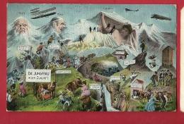 FIS-12 Die  Jungfrau In Der Zukunft. Humor. Eiger, Mönch, Flugzeuf, Bergleute, Gelaufen In 1918 - BE Bern