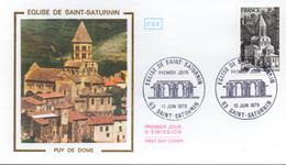 FRANCE  FDC  1978 Eglises  De Saint Saturnin - Churches & Cathedrals