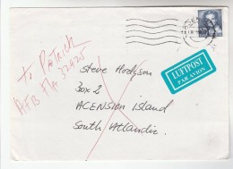 1990 DENMARK Stamps COVER To ASCENSION ISLAND Redirected To USA US FORCES AFB FL 32925 Airmail Label - Danimarca