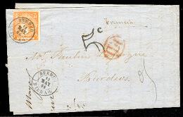 E-ISABEL II. 1866. 82a. Bermeo / Bilbao - Francia. Carta Con Sello 12. Vermellon Intenso Y Fechador. Prec.. Carta, Co... - España