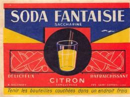 ETIQUETTE SODA FANTAISIE SACCHARINE CITRON BALZINGER . PRES ST GERVAIS - Etiquettes