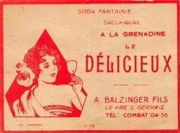 ETIQUETTE DE SODA SACCHARINE A LA GRENADINE A. BALZINGER LE PRE SAINT GERVAIS - Etiquettes