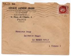 1944--Lettre Personnalisée MAGGI De Paris Pour LA ROCHE POSAY--86-tp Type Bersier 1F50-cachet Mécanique PARIS 96 - 1921-1960: Période Moderne
